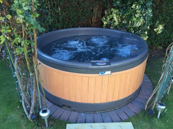 orbis blue teak panel garden Eazy Direct roto spa lazy spa hot tub 0% finance waterfall lights RotoSpa Orbis grey eazy hire easy direct payl8r pay monthly pay weekly hot tub low credit bnm wayfair the range cheap hot tub buy now pay later lay z spa hot tub financing Eazy hot tubs