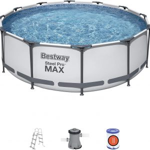Bestway steel pro max frame pool,12ft pool, garden pool, steel frame pro pool, grey garden pool, bestway pool set, 10ft frame pool, paddling pool large with pool filter, garden hot tub, hot tub mat, Eazy Direct Laybuy hot tub Klarna hot tub 0% finance payl8r pay monthly pay weekly kids pool, paddling pool, garden pool, low credit bnm wayfair the range cheap hot tub buy now pay later lay z spa layzspa hot tub lazy spa vegas inflatable financing low credit, clear background, with steps