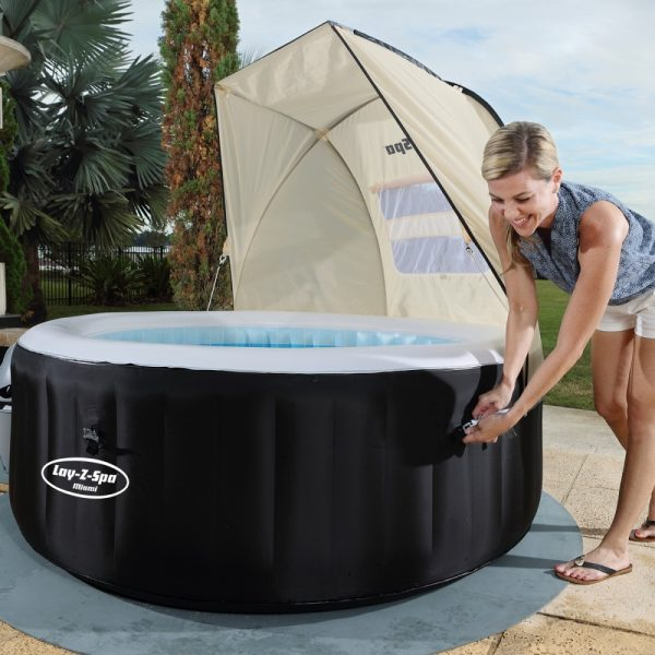 woman with canopy, lay-z spa hot tub canopy, lazy spa hot tub wind shield Eazy Direct payl8r hot tub 0% finance payl8r pay monthly pay weekly hot tub low credit bnm wayfair the range cheap hot tub buy now pay later lay z spa layzspa hot tub vegas from above inflatable financing low credit bad credit